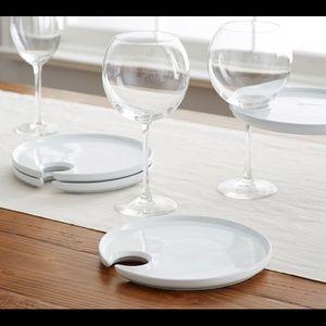 Pottery Barn Mingling Plates w/ Wine Glass Holder